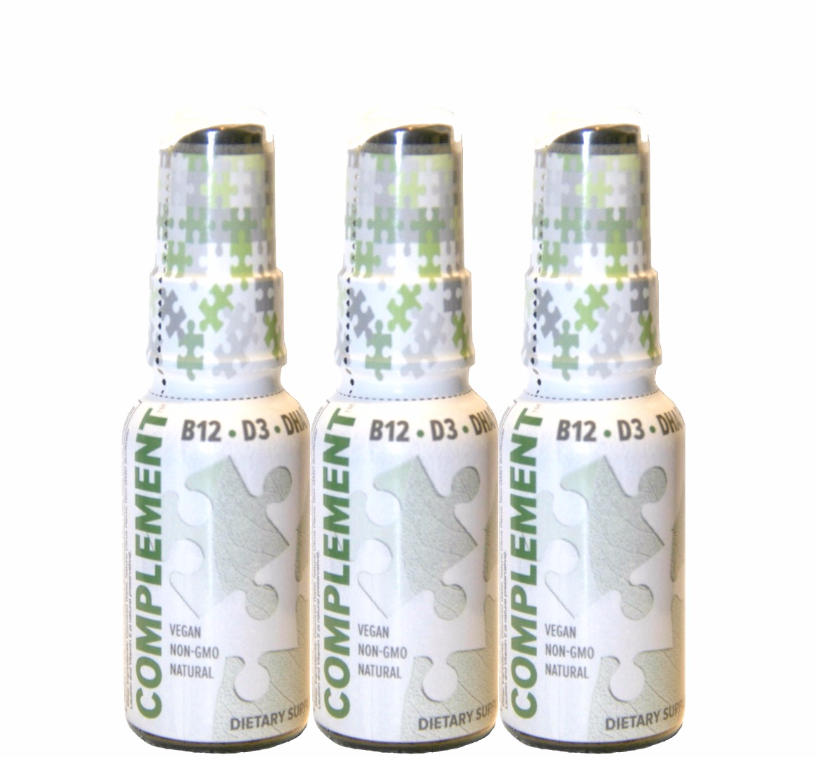 three bottles of Complement brand omegas, b12, D3