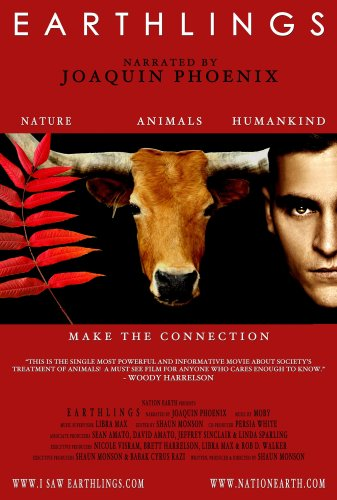 Earthling Documentary: cover is a photo of a red plant, cow face and a human man.