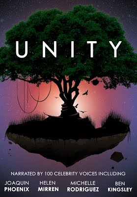 Unity Documentary: Cover is a silhouette of a tree in the sky, with a purple and pink sky behind