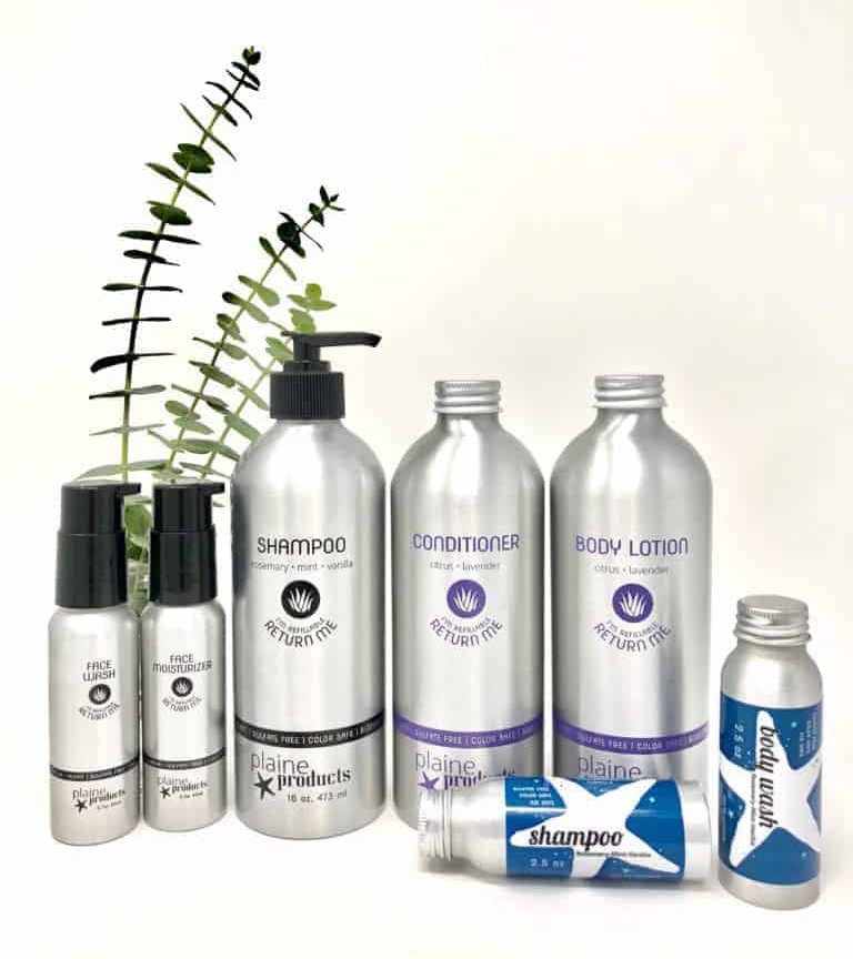 Plaine Products brand refillable stainless steel body care items
